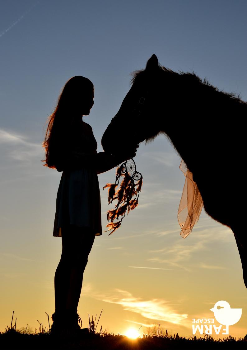 Nainen, hevonen ja unisieppari.